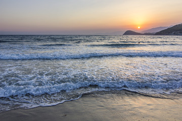 colorful sunset on mediterranian sea
