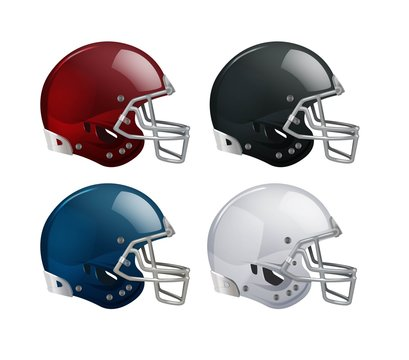 Set of isolated helmets for American football on white background
