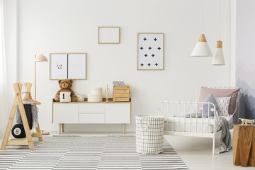 Kid's bedroom with wooden furniture