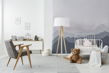 Monochromatic scandinavian child's bedroom interior
