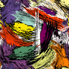 Seamless abstract background. Vector art, with paint strokes and paint splatters.