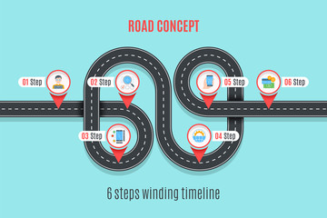 Road concept timeline, infographic chart, flat style