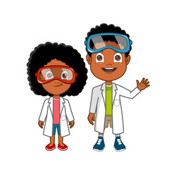 African american cartoon lab kids in white coats and goggles
