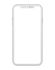 Modern white smart phone on white background
