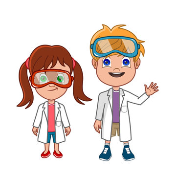 cartoon scientist boy and girl in lab coats