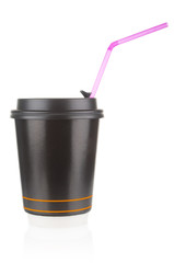 Disposable coffee cup with straw isolated on white background