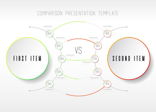Two items  comparison vector template with circles.