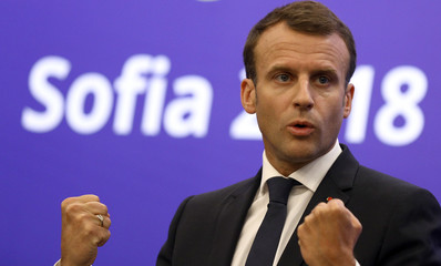 French President Macron gives a news conference at the EU-Western Balkans Summit in Sofia