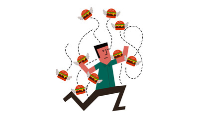 Vector Illustration of a Man attacked buy a bunch of flying burgers. Burger flying around a man.