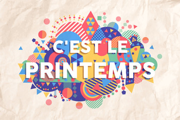 Spring time season text quote in french language