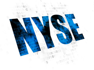 Stock market indexes concept: Pixelated blue text NYSE on Digital background