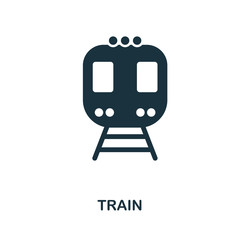 Train icon in vector. Flat style icon design. Vector illustration of train icon. Pictogram isolated on white.