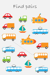 Find pairs of identical pictures, fun education game with transport for children, preschool worksheet activity for kids, task for the development of logical thinking, vector illustration