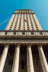 New York Court building. Split toned image.