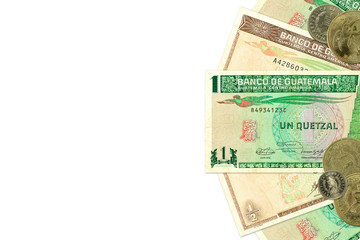 some guatemalan quetzal bank notes and coins