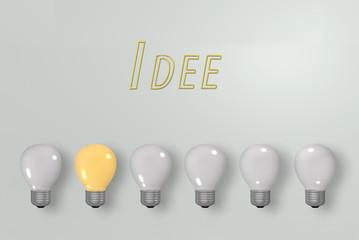leuchtende gelbe Glühbirne unter dunklen Glühbirnen mit deutschem Text Idee. 3d render