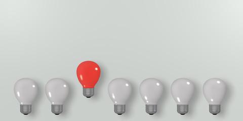 Konzept: Innovation, leuchtende rote Glühbirne unter dunklen. 3d render