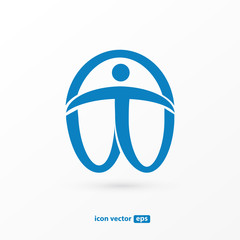 Human character vector logo template creative illustration. Abstract man figure sign.