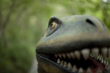 A dinosaur face close up smiling