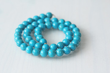 Turquoise. Natural turquoise stone, round beads