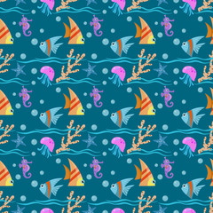 Under water design fish seamless pattern.