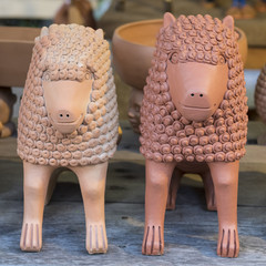 Clay sculptures used as home decoration in the cities Recife and Olinda in Pernambuco, Brazil.
