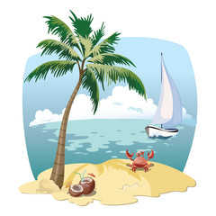 Cartoon island in the sea with a yacht. Illustration for a travel company. Summer vacation at the sea. Illustration of a sandy wild beach with palm trees. Vacation. Drawing for children.