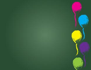 Hand drawn balloon border on chalkboard