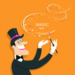 Magician doing a trick with Magic wand.Vector background illustration.