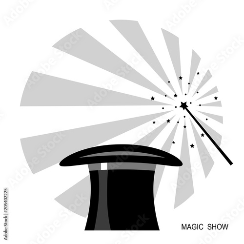 Magic Hat And Wand Vector Black White Label
