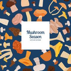 Vector backgroundwith cartoon mushrooms