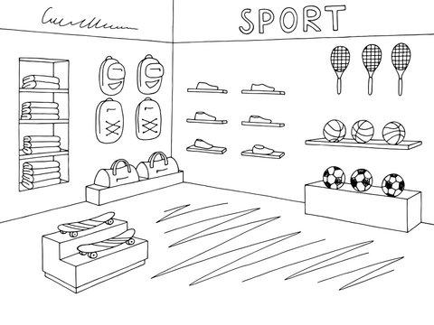 Sport shop store graphic interior black white sketch illustration vector