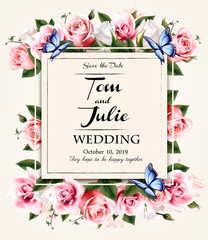 Vintage wedding invitation desing with coloful flowers and butterflies. Vector