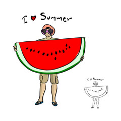man with sunglasses holding big water melon vector illustration sketch doodle hand drawn with black lines isolated on white background