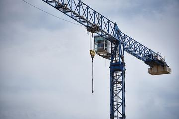 A high-altitude crane close-up against a cloudy blue sky.