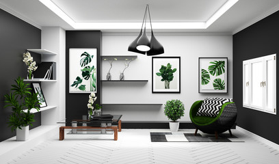 Modern Tropical living room interior with sofa and green plants,lamp,table on white and black wall background. 3d rendering.