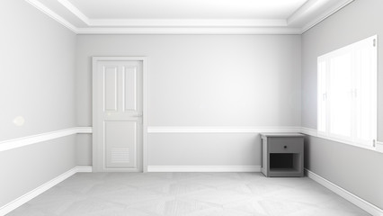 Empty room inderior, white room concept. 3D rendering