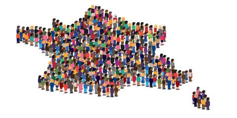 France - français - population - française -personne - personnage - carte - foule