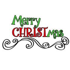 Merry CHRISTmas Design with Swirls