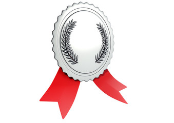 A 3D Illustration of silver award with ribbon on white background