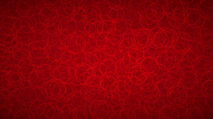 Abstract background of randomly arranged contours of circles in red colors.