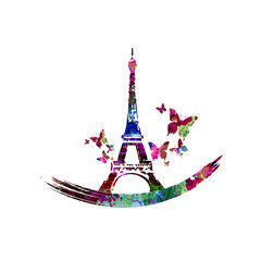 Colorful Eiffel Tower vector illustration design. Famous landmark in Paris. Travel and tourism background