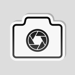 Photo camera, linear symbol with thin outline, simple icon. Stic