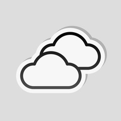 Mostly cloudy icon. Simple linear icon with thin outline. Sticke