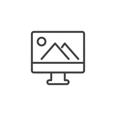 Landscape picture on computer monitor outline icon. linear style sign for mobile concept and web design. Photo on display simple line vector icon. Symbol, logo illustration. Pixel perfect vector