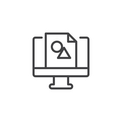 Design picture on computer monitor outline icon. linear style sign for mobile concept and web design. Digital design line vector icon. Symbol, logo illustration. Pixel perfect vector graphics