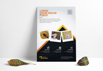 Dark Blue and White Flyer Layout with Orange Accents
