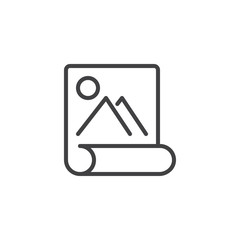 Image scroll paper outline icon. linear style sign for mobile concept and web design. Landscape picture simple line vector icon. Symbol, logo illustration. Pixel perfect vector graphics