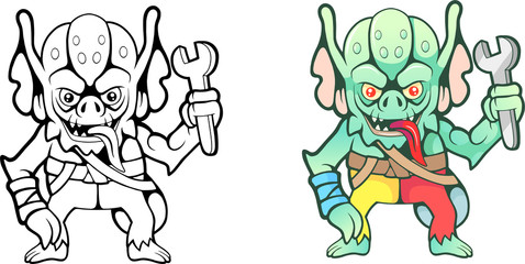 cartoon funny gremlin with a wrench in his hand