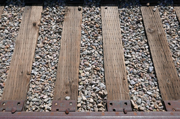 Railroad track with wooden ties on gravel